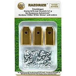 RAZORIZE® 30x Lames de rechange en titane pour tous les robots tondeuses de jardin Automower Husqvarna / Gardena / Yardforce / McCulloch, robuste (3.1 g / 0.75 mm) avec vis, 30 pièces