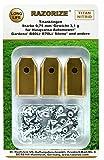 RAZORIZE 30x Lames de rechange en titane pour tous les robots tondeuses de jardin Automower Husqvarna / Gardena / Yardforce / McCulloch, robuste (3.1 g / 0.75 mm) avec vis, 30 pièces