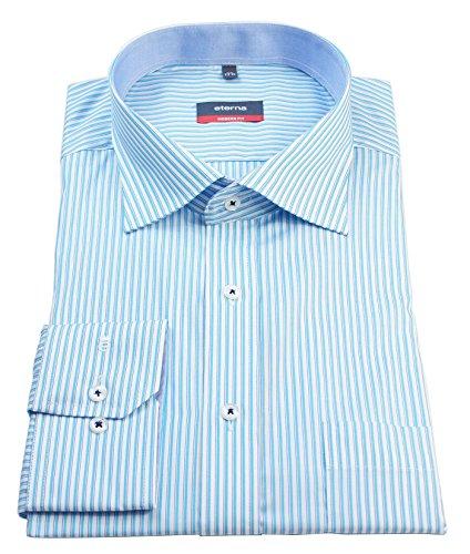 ETERNA Herren Langarm Hemd Modern Fit mehrfarbig gestreift Brusttasche mit Patch 4621.62.X157 Türkis