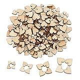 200 Stück Mini Wooden Hearts Mixed Holz Herz Verschönerungen für Hochzeit Handwerk Herstellung DIY