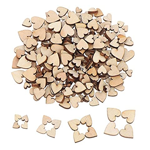Outus 200 Pieces Mini Wooden Hearts Mixed Wood Heart Embellishments