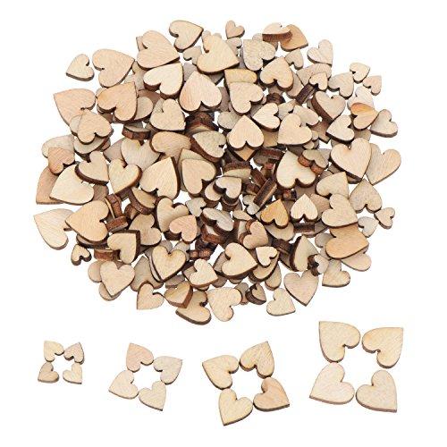 200 Stück Mini Wooden Hearts Mixed Holz Herz Verschönerungen für Hochzeit Handwerk Herstellung DIY -
