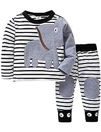 JYC Conjuntos Bebes,Conjuntos Bebe NiñA Algodon,Bebé Chicos Chicas Elefante A Rayas ImpresiónCamiseta Tops+Pantalones Conjunto Casaul Ropa