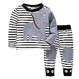 Sonnena 2PCS Mädchen Kleidung Set,Junge Outfit Set Langarm Gestreift Elefant Drucken Tops Sweatshirt + Lange Hose Bekleidungssets Girl Mode Tägliche Kleidung Outfit 1-2 Jahre alt