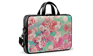 DailyObjects Romantic Pink Retro Floral Pattern Teal Polka Dots City Compact Messenger Bag for Up to 14 Inch Laptop/MacBook Color-Multicolor