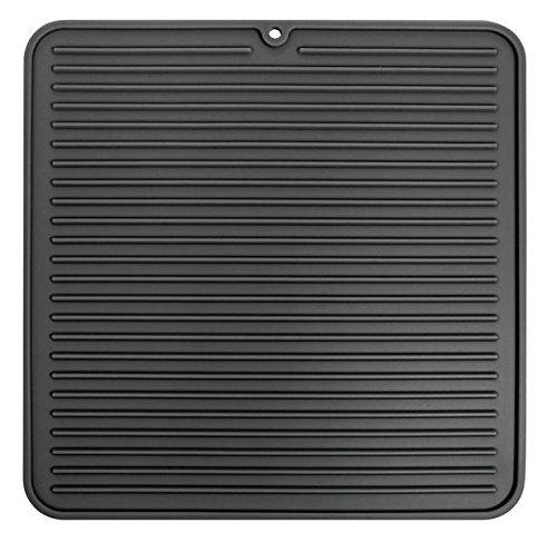 InterDesign Lineo Tapete escurridor, alfombrilla escurreplatos compacta de silicona para secar cubiertos y vajilla, negro