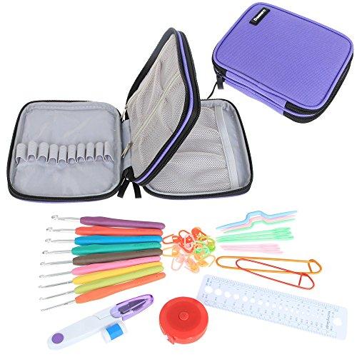 Damero ergonomico uncinetto Set - con Organizzatore Caso e completa / Accessori / Kit Crochet, Viola