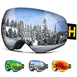 Ski Goggles Pro - Homeme Snow Goggles with UV 400 Double Lens Anti-fog for Women & Man (Silver)