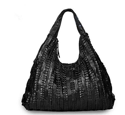 BAO Damen Leder Nähen große Tasche/Schwarze Handtasche, Schultertasche, Messenger Bag, Reisen/Einkaufen / Arbeit, Das Beste Geschenk, große Kapazität