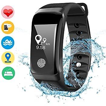 DAMIGRAM Montre Connecté Tracker dActivité, Bracelet Connectée Traqueur dActivité Podomètre Cardiofréquencemètre Etanche IP67 Smartwatch, ...
