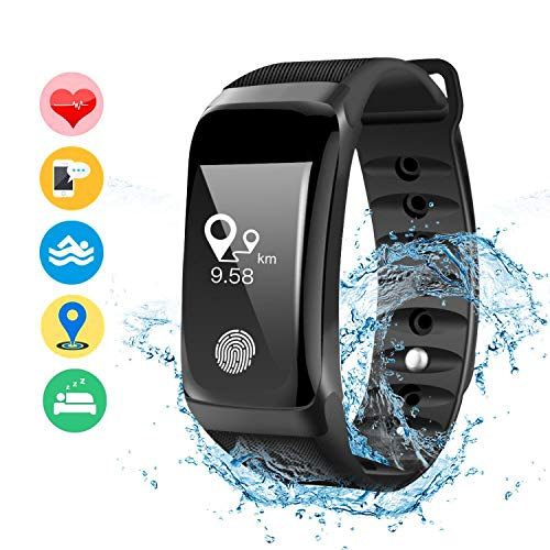 Damigram fitness tracker, orologio fitness activity tracker cardio impermeabile ip67 bluetooth 4.0 smartband bracciale braccialetto donna uomo fitness sport watch per ios android smartphones, nero