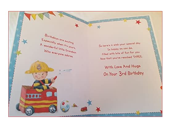 Buy fireman grandson age 3 from 179 compare prices at shopods 3rd birthday card image1 image2 bookmarktalkfo Images