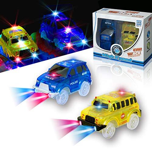 KaliningEU Rennauto(2 Stück) Licht Spur Rennwagen Spielzeug Auto, 5 LED Lichter Schulbus und Polizeiautos Kompatibel mit Magic Tracks,4X4 Auto Endloser Spaß für Jungen Mädchen