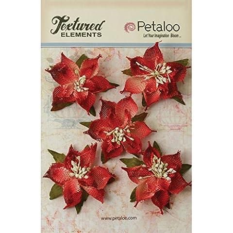 Petaloo textura elementos 2.5pulgadas de cinta de flores de pascua, color rojo