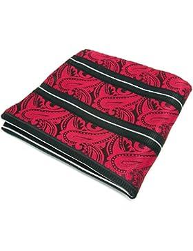 shlax&wing Hombre La Moda Seda Boda Pañuelo De Bolsillo Para Rojo Negro Rayas Cachemir 12.6