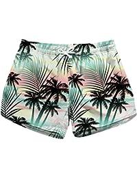 Mujer flores tropisch Imprimir Deportes acuáticos Natación Bikini Bañador Secado Rápido Bañador para hombre, Hot Pants playa Pantalón Corto, tropical, large