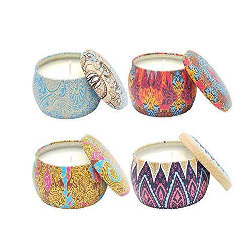 4PCS Duft Soja Kerzen Verschiedene Geschmacksrichtungen Kerzen Geschenk Set für beruhigend und Trösten Relax Aromatherapie Wax 100% natürliche -