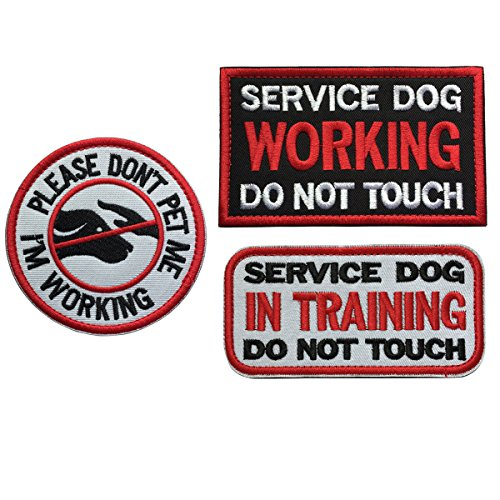 spacecar Service Dog in Training & Arbeiten & Nicht Touch Military Army Tactical Moral Badge Haken & Schleife Verschluss Zieremblem Aufkleber Patch D - Bundle 3 Pieces Set