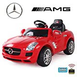 crooza *2X Motoren* Soft-Start Original Mercedes-Benz AMG SLS Lizenz Kinderauto Kinderfahrzeug (ROT)