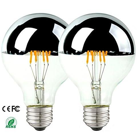 [Pack of 2] 6w Led Light Bulbs Globe Half Silvered