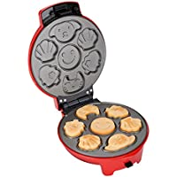 Finether Gofrera 3 en 1, Máquina para Hacer Gofres Antiadherente, Waffle Maker Regurable, Gofrera Sandwichera, Placa 19cm, 700 W, Rojo