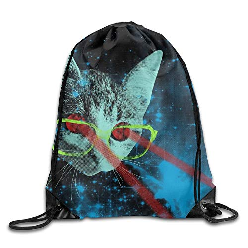 DHNKW Space Cat Big Adventure Drawstring Backpack Rucksack Shoulder Bags Training Gym Sack for Man and Women (Adventure Big Halloween-party)