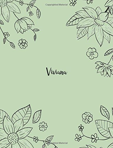 Viviana: 110 Ruled Pages 55 Sheets 8.5x11 Inches Pencil draw flower Green Design for Notebook / Journal / Composition with Lettering Name, Viviana por J B Boon