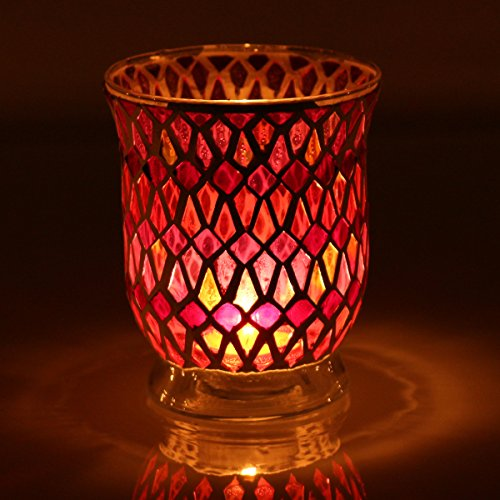KING DO WAY Mosaic Glass Candle Holder Light Handle Tealight Candleholder Lantern Lamp Chimney