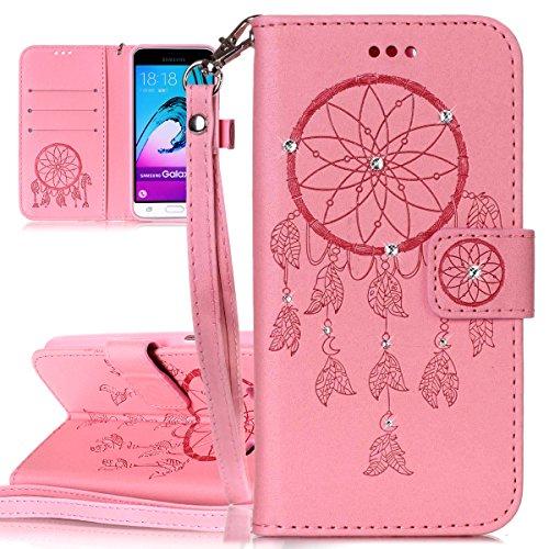 Custodia Galaxy J3 ISAKEN Cover Samsung Galaxy J3 con Strap, Elegante borsa Dente di leone Design in Pelle Sintetica Ecopelle PU Case Cover Protettiva Flip Portafoglio Case Cover Protezione Caso con S deamcatcher:rosa