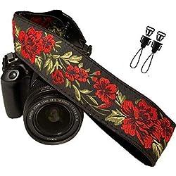Courroie de Ceinture de caméra Fleurs Rouge pour Tous Les appareils Photo Reflex numérique. Bracelet élégant en DSLR en Coton, pour Canon, Nikon, pentax, Sony, fujifilm et Appareil Photo numérique