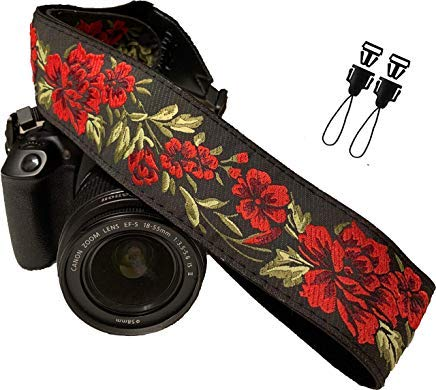 Correa de cámara con rosas para cámaras DSLR - Elegante correa universal de algodón para réflex - Correa de hombro y cuello para Canon, Nikon, Pentax, Sony, Fujifilm y cámara digital