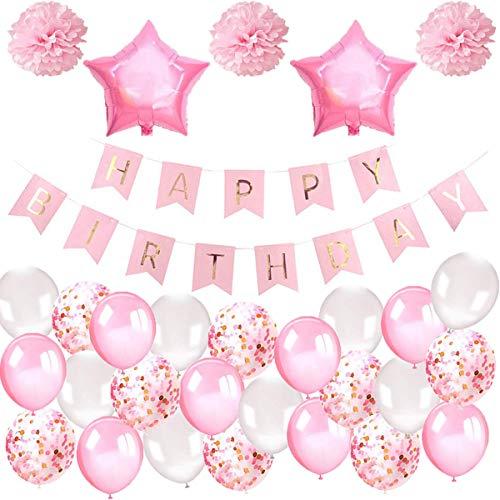 Fiyo Geburtstagsdeko Mädchen, Geburtstag Dekoration Set Happy Birthday Girlande Ballons Banner + Luftballons Rosa + Luftballons Konfetti + Seidenpapier Pompoms für Deko Taufe Mädchen Freundin Tochter