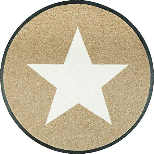Wash&Dry 076032 Fußmatte Stars, rund, Durchmesser 75 cm, Sand