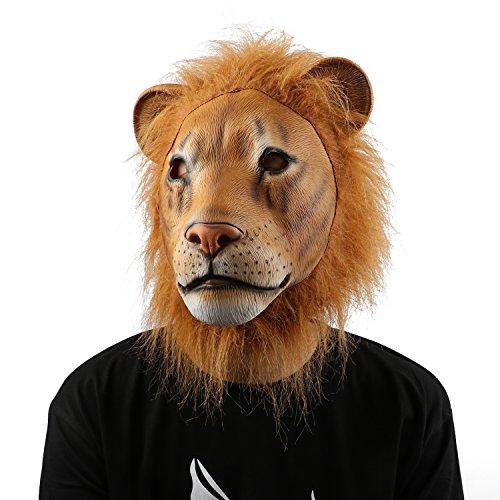 XIAO MO GU Löwe Halloween Maske Latex Tiermaske Kopfmaske für Fasching Kinder Erwachsenen (Löwe Kostüme Maske)