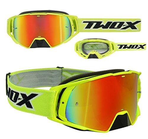 TWO-X Rocket Crossbrille neon gelb Glas verspiegelt Iridium MX Brille Nasenschutz Motocross Enduro Spiegelglas Motorradbrille Anti Scratch MX Schutzbrille Nose Guard