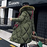 FidgetGear Winter Women Down Cotton Hoodie Coat Furry Collar Large Size Middle Long Overcoat red M