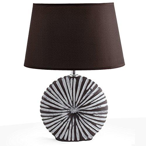 BRUBAKER Tisch- oder Nachttischlampe Braun, Keramikfuß in zweifarbigem, mattem Finish - 36 cm Höhe