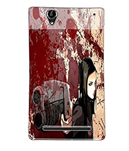 Fuson Blood Gun Girl Back Case Cover for SONY XPERIA T2 ULTRA - D3831