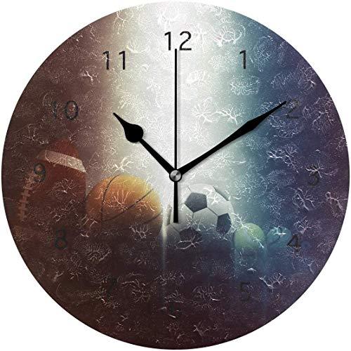 ocaohuahuaba Baseball Round Acrylic Wall Clock Silent Non Ticking Art Decorative for Home Office School