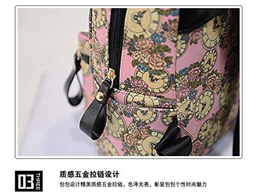 Gaorui zaino zainetto donna ragazza borsa tela bag stampa orologio vintage backpack Verde