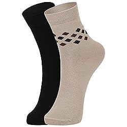 DUKK Men's Black & Beige Ankle Length Cotton Lycra Socks (Pack of 2)