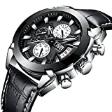 CIVO Men Black Genuine Leather Chronograph Multifunctional Watch Gents Luxury Business Artistic Wrist Watches Casual Dress Waterproof Date Calendar Analogue Quartz Watch for Men with Big Face 51m0 aJU7XL