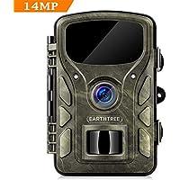 EARTHTREE Wildkamera, 14 MP 1080P Getarnte Outdoor Überwachungskamera Nachtsicht 0,4 Sekunden Auslösezeit bis zu 65ft mit IP66 Wasserdichte Jagdkamera für Jagd, Überwachung von Eigentum und Tieren
