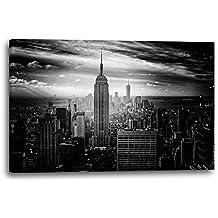 Paisajes urbanos de Nueva York Horizonte blanco y negro Manhattan blanco y negro, 100x70 cm, Impresión de la lona enmarcada en el marco de madera genuino y listo para colgar, impresión de la alta calidad hecha en Alemania.