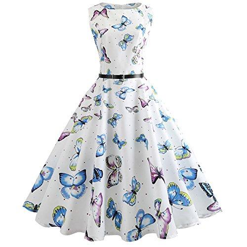 Vectry Kleider Damen Rockabilly Kleid Elegante Kleider Lange Kleider Frauen Sommer Festliche...
