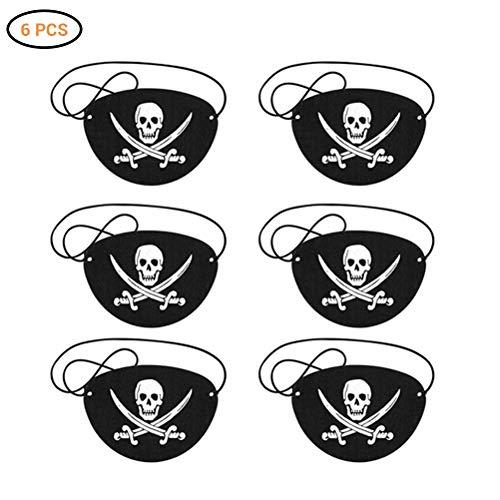 EqWong Piraten Augenklappen, 6 Stück Augenklappe Pirat Kinder Kapitän Augenklappen Piraten Accessoires für Piraten Kindergeburtstag, Piratenparty, Karneval, Halloween, Piraten Zubehör (Karibik Themed Kostüm)