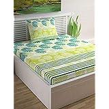 Divine Casa Cotton 104TC Bedsheet (Single_Limeade;Turquoise)