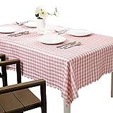 Mantel de tela escocesa de Easy Care, cubierta de mesa a cuadros de poliéster suave, manteles de encaje lavables, mantel de mesa de comedor decorativo, blanco y rosa ( Tamaño : Square 60x60cm )