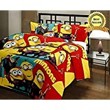 TRUSTFUL Minions Cartoon Kids Design Print Single Bed Reversible AC Blanket | Dohar | Quilt | Comforter | Duvet (Polycotton, Multicolor)