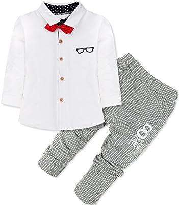 FEESHOW Infantil Del Bebé Niño Trajes Con Un Camiseta+ Un Pantalones A Rayas +Un Bowtie SZ 9 Meses-4Años